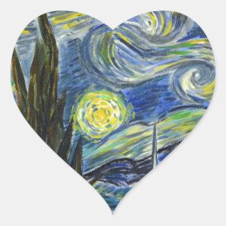 Starry Night, Van Gogh Heart Sticker
