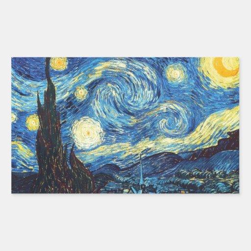 Starry Night - Van Gogh Rectangular Sticker   Zazzle