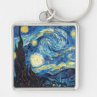 Starry Night - Van Gogh Silver-Colored Square Keychain
