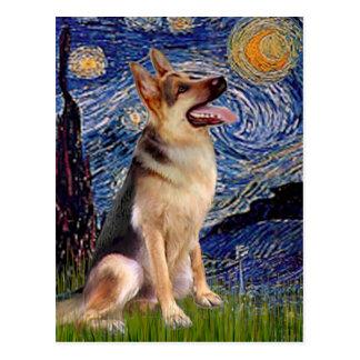 Starry Night (Vert) - German Shepherd 1 Postcard