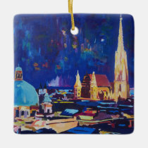 Starry Night Vienna At Night with St Stephan Ceramic Ornament