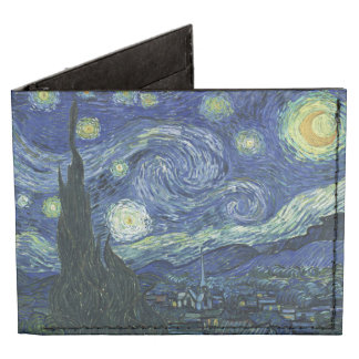 Starry Night Vincent van Gogh Fine Art Painting Billfold Wallet