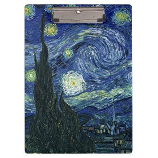 Starry Night Vincent van Gogh Fine Art Painting Clipboard