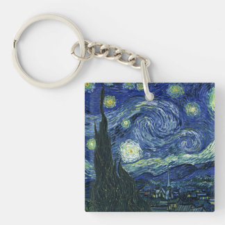 Starry Night Vincent van Gogh Fine Art Painting Double-Sided Square Acrylic Keychain