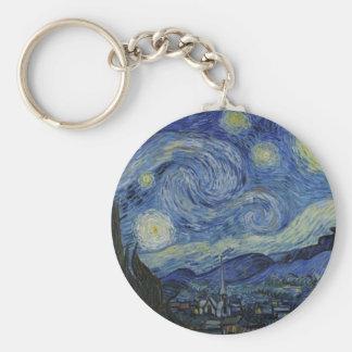 Starry Night Vincent van Gogh Painting Basic Round Button Keychain