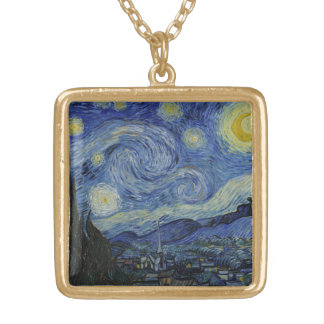 Starry Night Vincent van Gogh Painting Gold Plated Necklace