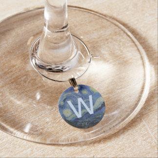 Starry Night Vincent van Gogh Wine Glass Charm