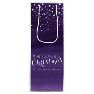 Starry night watercolor Christmas wine bag