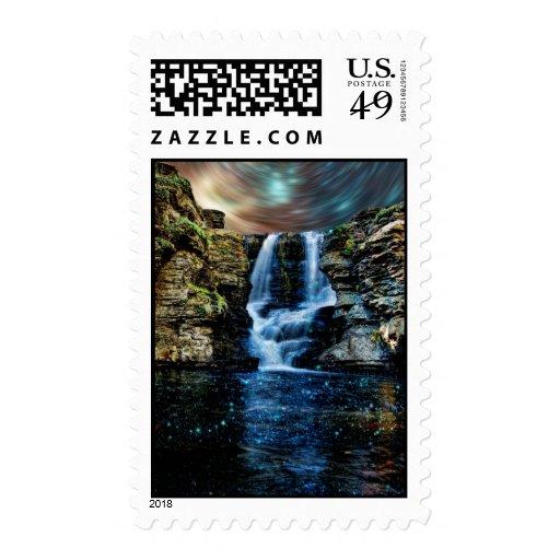 Starry Night Waterfall Postage