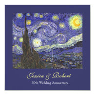 Starry Night wedding anniversary celebration Personalized Invitations