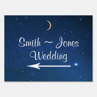 Starry Night Wedding Direction Sign