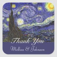 Starry Night wedding favor thank you Stickers