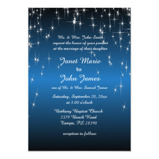 Starry Night Wedding in Color | Metallic Blue Card