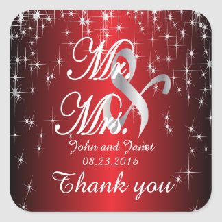 Starry Night Wedding in Color | Metallic Red Square Sticker
