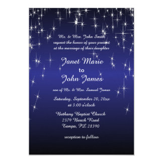 Starry Night Wedding in Dark Blue Card