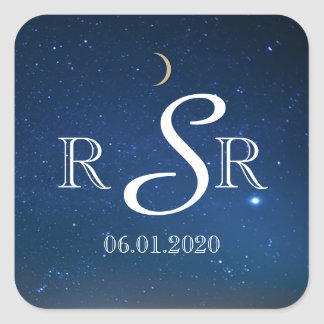 Starry Night Wedding Monogram Square Sticker