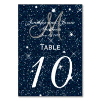 Starry Night Wedding Table Number Card
