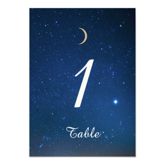 Starry Night Wedding Table Number 5x7 Paper Invitation Card