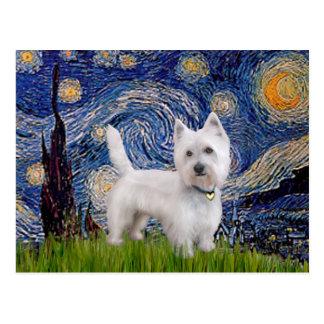 Starry Night - Westie 10 (L) Postcard