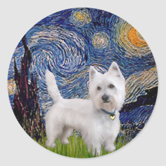 Starry Night - Westie 10 L Round Stickers