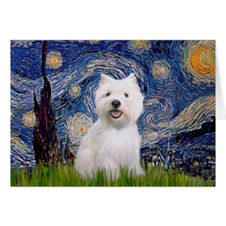 Starry Night - Westie 2 Card