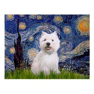Starry Night - Westie 2 Postcard