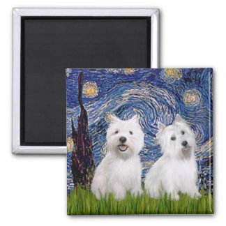 Starry Night - Westies (two) 2 Inch Square Magnet