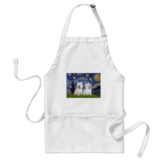 Starry Night - Westies (two) Adult Apron