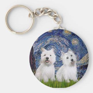 Starry Night - Westies (two) Basic Round Button Keychain