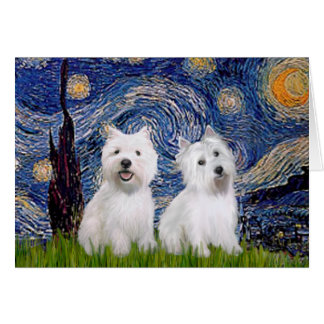 Starry Night - Westies (two) Card