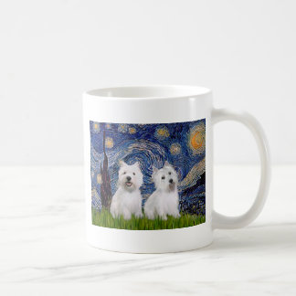 Starry Night - Westies (two) Coffee Mug