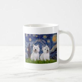 Starry Night - Westies (two) Coffee Mug