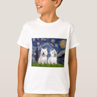 Starry Night - Westies (two) T-Shirt
