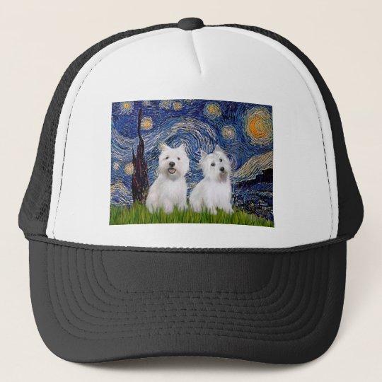 Starry Night - Westies (two) Trucker Hat