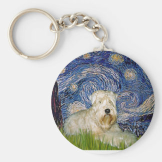 Starry Night - Wheaten Terrier 1 Keychain