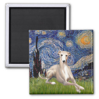 Starry Night - Whippet #2 2 Inch Square Magnet