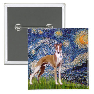 Starry Night - Whippet (stand) 2 Inch Square Button