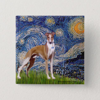 Starry Night - Whippet (stand) Button