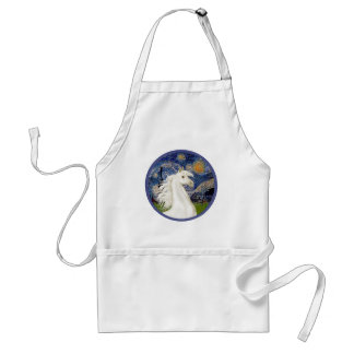 Starry Night - White Arabian Horse Portrait Adult Apron