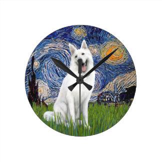 Starry Night - White German Shepherd Round Clock