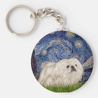 Starry Night - White Pekingese 4 Keychains