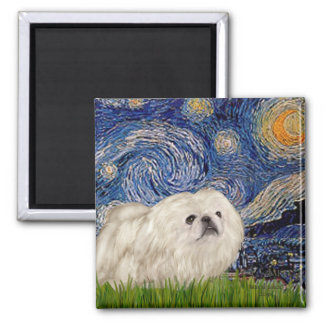 Starry Night - White Pekingese 4 Magnet