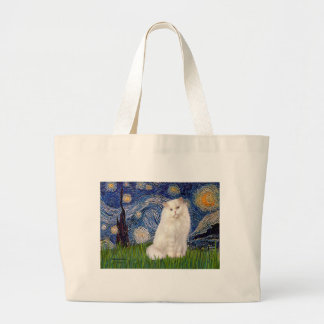 Starry Night - White Persian cat Large Tote Bag