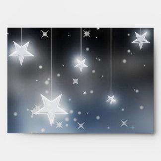 Starry NIght White Stars On Black & Blue Envelope