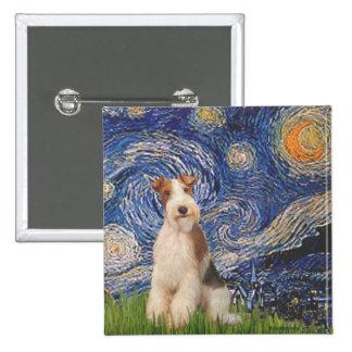 Starry Night - Wire Fox Terrier 3 Pinback Button