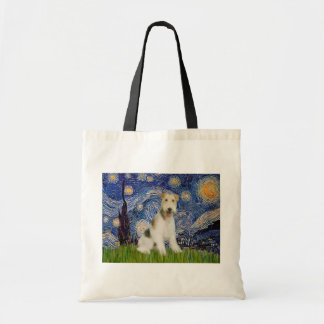 Starry Night - Wire Fox Terrier (M) Tote Bag