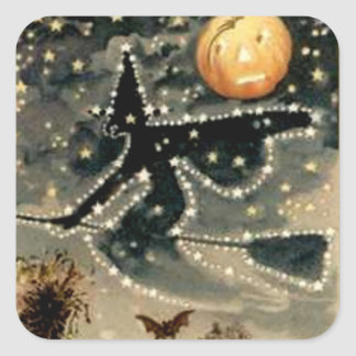 Starry Night Witch Square Sticker