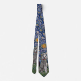 Starry Night with a Silver Standard Poodle #1 Neck Tie