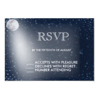Starry Night with Moon Glow RSVP Card