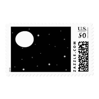 starry night with moon stamp